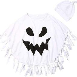 Muasaaluxi Toddler Kid Baby Girls Boys Halloween Costumes White Ghost Cloak Tassel Cape Cosplay w... | Amazon (US)