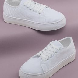 Lace Front Flatform Canvas Sneakers | SHEIN