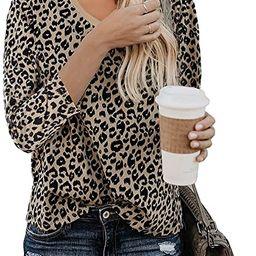 Yidarton Women's T Shirt Leopard Print Tops Short/Long Sleeve Casual Cotton Round Neck Cute Blous... | Amazon (US)