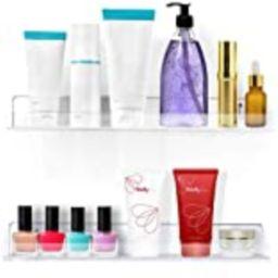 Estilo Set of 2 Acrylic Clear Wall Mounted Display Floating Shelve for Cosmetics, Photos, Books-15 i | Amazon (US)
