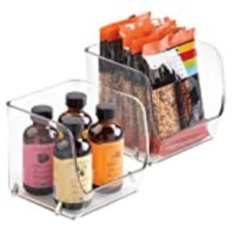 """iDesign Linus BPA-Free Plastic Small Stackable Organizer Bins - 4.5"""" x 4.5"""" x 4.25"""", Clear (Pack of  