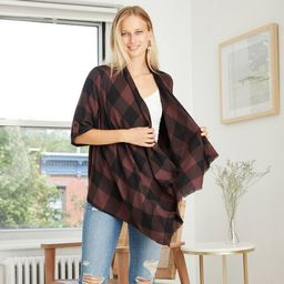 Women's Plaid 3/4 Sleeve Open Layering Kimono Jacket - Knox Rose™ Brown   Target