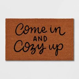 """1'6""""x2'6"""" Come In and Cozy Up Doormat Black - Threshold™   Target"""