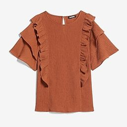 Textured Double Ruffle Top | Express