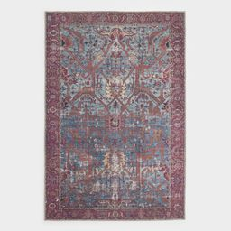 Blue and Red Patterned Phoenix Area Rug - Polyester - 4' x 6' by World Market | World Market