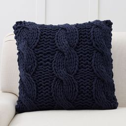 """Colossal Handknit Pillow Cover, 24 x 24"""""""", Navy 