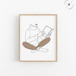 Bookish Printable, Books Art, Books Print, Fine Line Art, Line Drawing, Digital Download, Printab... | Etsy (US)