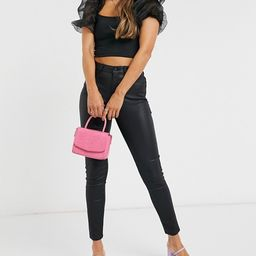 New Look lift and shape coated skinny jeans in black   ASOS (Global)