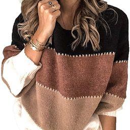 Kaei&Shi Color Block Sweater for Women Striped Colorblock Pullover Sweater Ballon Sleeve Knit Ove... | Amazon (US)