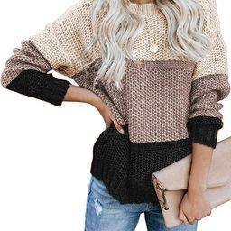 Tiksawon Womens Color Block Striped Oversized Crew Neck Sweaters Pullover Fashion Long Sleeve Loo... | Amazon (US)