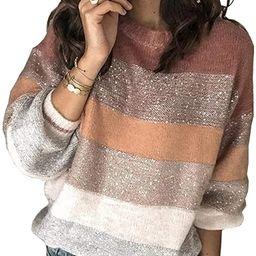 PRETTYGARDEN Women's Fashion Long Sleeve Striped Color Block Knitted Sweater Crew Neck Loose Pu... | Amazon (US)