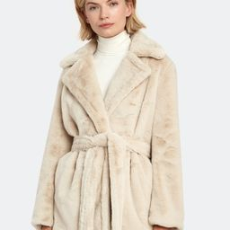 Belted Plush Faux Fur Coat | Verishop