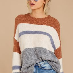 Meet Me There Brown Multi Stripe Sweater | Red Dress