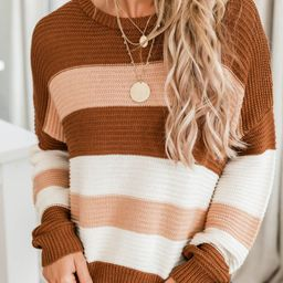 You Know I Adore You Brown Striped Sweater | The Pink Lily Boutique
