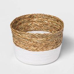Round Basket in Braided Matgrass & White Coiled Rope - Threshold | Target