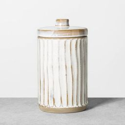 Embossed Stoneware Reactive Glaze Bath Canister Sour Cream - Hearth & Hand™ with Magnolia | Target