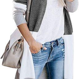 Yacooh Womens Boho Open Front Striped Knit Cardigan Sweater Lightweight Long Sleeve Coats | Amazon (US)