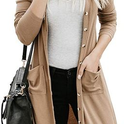 Sidefeel Women Long Sleeve Solid Color Button Down Knit Ribbed Cardigans Outwear   Amazon (US)