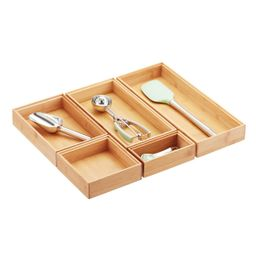 Stackable Bamboo Drawer Organizers | The Container Store