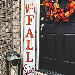 Happy Fall Y'all Rustic Craft Outdoor Welcome Sign   Fall Porch Decor   Vertical Fall Porch Sign ...   Amazon (US)