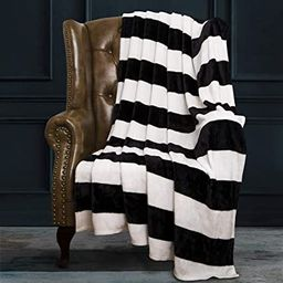 """NTBAY Flannel Throw Blankets Super Soft with Black and White Stripe (51""""x 68"""")   Amazon (US)"""