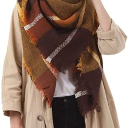 Women's Fall Winter Scarf Classic Tassel Plaid Scarf Warm Soft Chunky Large Blanket Wrap Shawl Sc... | Amazon (US)
