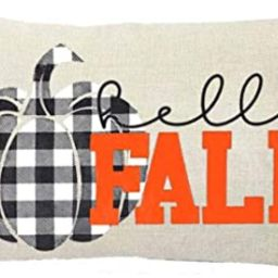 ZYCH Hello Fall Black and White Plaid Pumpkin Cotton Linen Square Throw Pillow Case Cushion Cover...   Amazon (US)