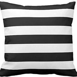 Emvency Throw Pillow Cover Horizontal Black and White Stripe Wide Decorative Pillow Case Home Dec...   Amazon (US)