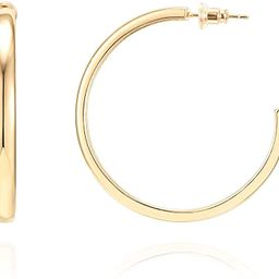 PAVOI 14K Gold Plated Silver Post Wide Flat Edge 40mm Hoop Earrings | Amazon (US)