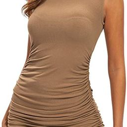 Nasperee Women Sleeveless Mock Neck Stretchy Tank Ruched BodyconDress Casual T Shirt Short Mini... | Amazon (US)