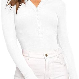 REORIA Women's V Neck Long Sleeve Button Down Henley Shirt Ribbed Knit Leotards Bodysuits Tops | Amazon (US)