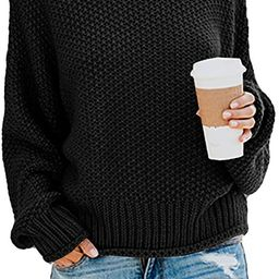 Ybenlow Womens Turtleneck Sweaters Batwing Long Sleeve Casual Loose Oversized Chunky Knit Pullove...   Amazon (US)