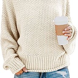 Ybenlow Womens Turtleneck Sweaters Batwing Long Sleeve Casual Loose Oversized Chunky Knit Pullove... | Amazon (US)