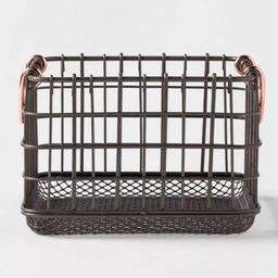 Wire Basket With Copper Handle And Mesh Bottom Pewter - Threshold™ | Target