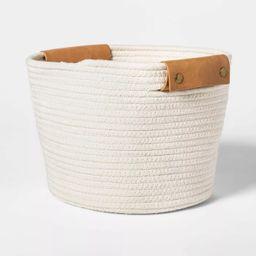 "11"" Decorative Coiled Rope Square Base Tapered Basket Medium White - Threshold™ | Target"