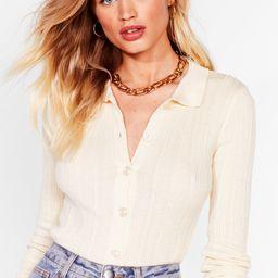 Womens Collar at Us Ribbed Knit Cardigan - Cream | NastyGal (US & CA)