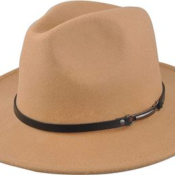 EINSKEY Womens Felt Fedora Hat, Wide Brim Panama Cowboy Hat Floppy Sun Hat for Beach Church | Amazon (US)