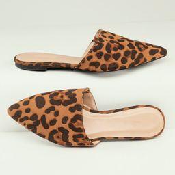 Pointed Toe Leopard Print Flat Slide Mules   SHEIN