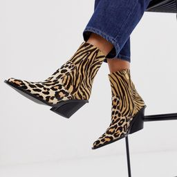 ASOS DESIGN Rory premium leather western boots in animal mix-Multi   ASOS (Global)