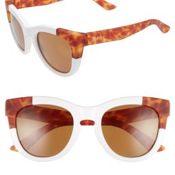 Women's Smith Sidney 55mm Chromapop Polarized Cat Eye Sunglasses - White/ Honey Tortoise   Nordstrom