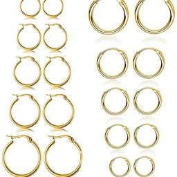 10 Pairs Small Hoop Earrings Set Stainless Steel Silver Gold Cute Hypoallergenic Earrings for Wom...   Amazon (US)