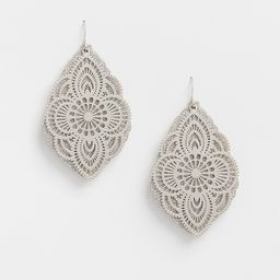 Silver Glitter Overlay Drop Earrings   Maurices