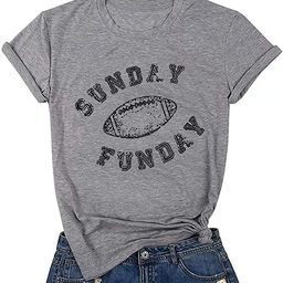 JEALLY Sunday Funday Letters Print T Shirt Women Football Shirts Casual Short Sleeve Top Tees   Amazon (US)
