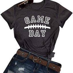 GEMLON Game Day Football T-Shirt for Women Letter Print Short Sleeve Casual Tee   Amazon (US)