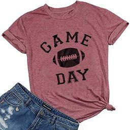 Game Day Football T Shirt for Women Football Season Graphic Shirt Tee Top Letter Print Short Slee...   Amazon (US)