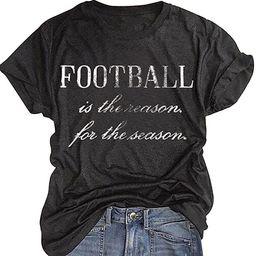 Football Season T-Shirt Game Day Shirts for Women Funny Football Graphic Sports Tees Casual Sunda...   Amazon (US)