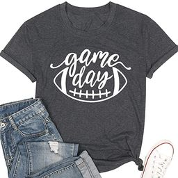 Game Day Football T Shirts Women Cute Football Graphic Tee Tops Funny Sunday Casual Short Sleeve ...   Amazon (US)
