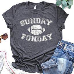 Sunday Funday Shirt Women American Football Printed Causal Short Sleeve Game Day T-Shirts Top   Amazon (US)