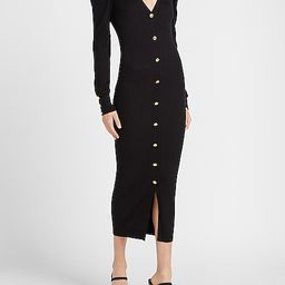 Ribbed Puff Sleeve Button Front Sweater Dress | Express