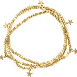 And Lovely 14K Gold or Silver Plated Bead Stretch Bracelet with 14K Gold Plated Star Charm - Stac... | Amazon (US)